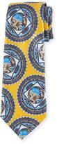 Ermenegildo Zegna Floral Medallion Jacquard Tie, Yellow