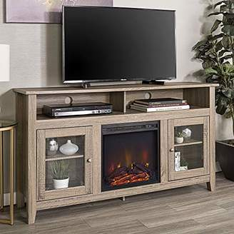 """WE Furniture Tall Rustic Wood Fireplace Stand for TV's up to 64"""" Living Room Storage"""