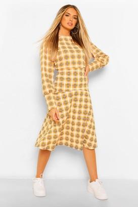 boohoo flannel Drop Hem Midi Skirt