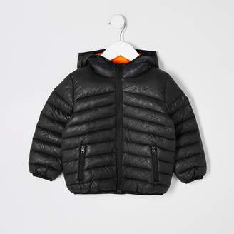 River Island Mini boys Black printed padded jacket
