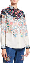 Etro Floral-Print Engineered Cotton Button-Front Shirt