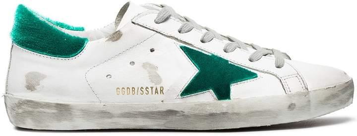 Golden Goose White green Superstar velvet sneakers