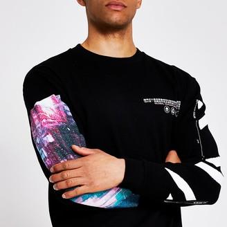 River Island Black printed long sleeve T-shirt