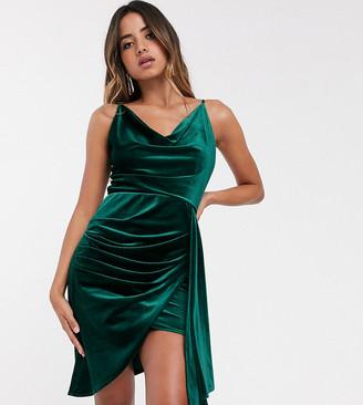TFNC velvet mini dress with drape detail in emerald-Green