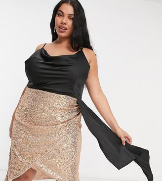 Jaded Rose Plus 2-in-1 satin drape cowl neck sequin skirt mini dress in rose gold