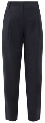 Tibi Pleated High-rise Crepe Trousers - Womens - Navy