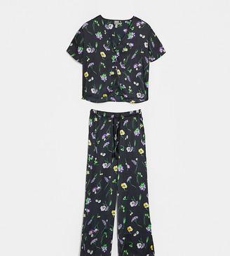 ASOS DESIGN Petite wild flower satin pants & shirt