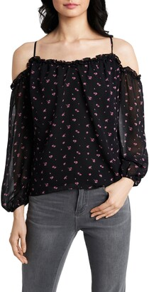 1 STATE Poetic Rosettes Cold Shoulder Blouse