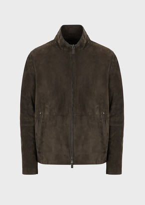 Giorgio Armani Suede Jacket With Full Zip Collar