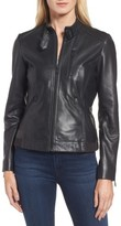 Bernardo Women's Jetta Knit Detail Leather Scuba Jacket