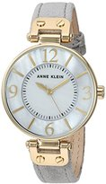 Anne Klein Women's Quartz Metal and Leather Dress Watch, Color:Grey (Model: AK/2738GMGY)