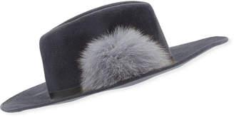 Frasconi Rabbit Felt Fedora Hat w/ Fur Pompom