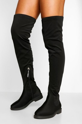 boohoo Wide Width Flat Stretch Over The Knee Boot