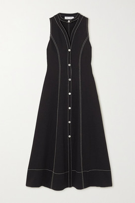 Proenza Schouler White Label Topstitched Cutout Pique Midi Dress - Black