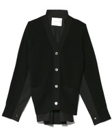 Sacai Cotton Knit Cardigan in Black/Black