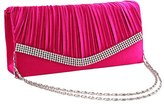 staychicfashion Women's Pleated Crystal Trim Bifold Evening Clutch Cocktail Chain Purse Bag