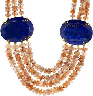 Bounkit Sunstone and Lapis Necklace