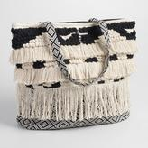World Market Black and White Woven Tote with Fringe