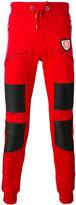 Philipp Plein leather panel cotton track pants - men - Cotton/Polyester/Polyurethane - S