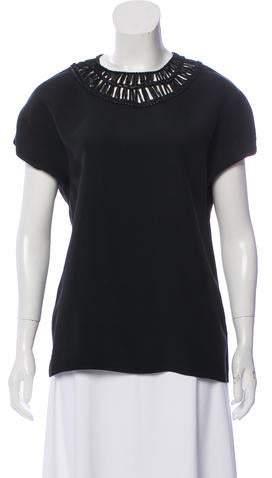 Ralph Lauren Black Label Leather-Trimmed Short Sleeve Top