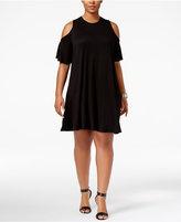 Soprano Trendy Plus Size Cold-Shoulder Shift Dress