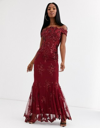 Goddiva bardot maxi dress with baroque embellishment in wine red