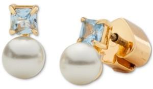 Kate Spade Gold-Tone Imitation Pearl and Stone Mini Stud Earrings