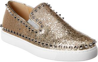 Christian Louboutin Studded Glitter Leather Slip-On Sneaker