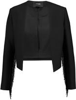 Maje Cropped fringed crepe jacket