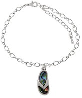 "Journee Collection Women's Base Metal Flip-flop Emblem Link Anklet with Paua Shell - Multicolor (9"")"