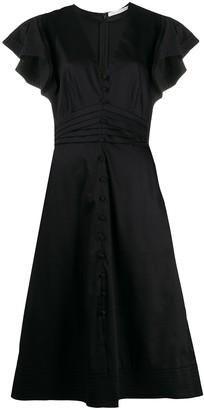 Veronica Beard pleated ruffled sleeve midi dress