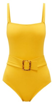 Eres Guilty Belted Square-neck Swimsuit - Womens - Yellow