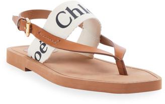 Chloé Canvas Logo Thong Sandals