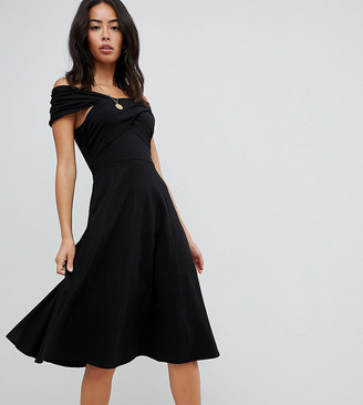 Bardot Asos Tall ASOS DESIGN Tall midi skater dress with neckline-Black