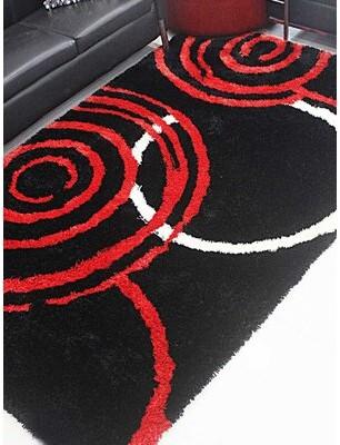 Barba Orren Ellis Hand-Tufted Cotton Black/Red Area Rug Orren Ellis