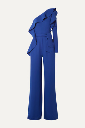 Elie Saab One-sleeve Ruffled Crepe Jumpsuit - Cobalt blue