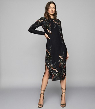 Reiss Petra - Floral Printed Midi Dress in Black Print