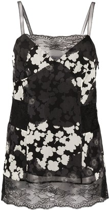 McQ Swallow Lace Panel Silk Camisole