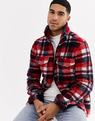 Brave Soul zip thru borg jacket in check