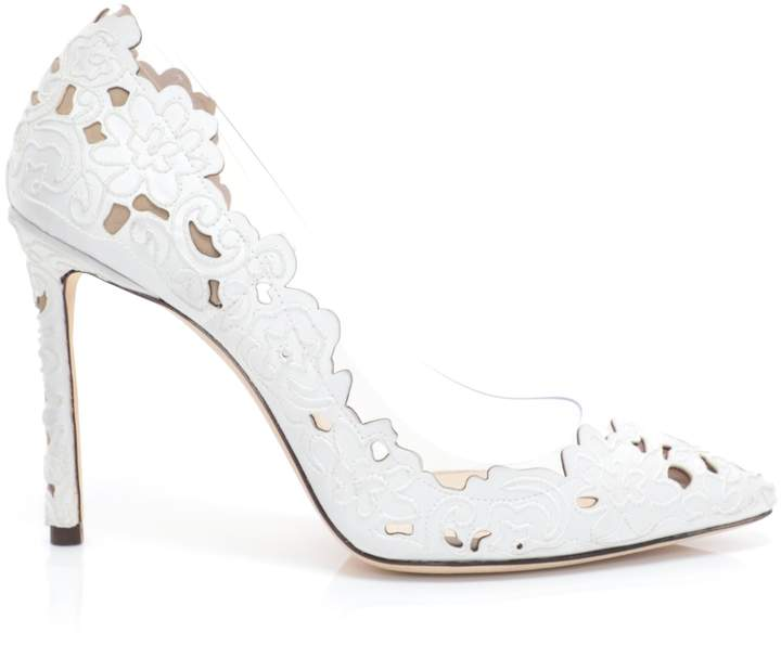Jimmy Choo ROMY 100 White and Clear Pointy Toe Pumps in Perforated Lace Fabric and Plexi