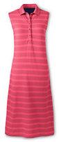 Classic Women's Sleeveless Polo Dress-Midnight Navy Stripe