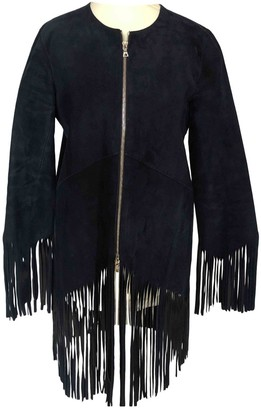 Sandro Navy Leather Jackets