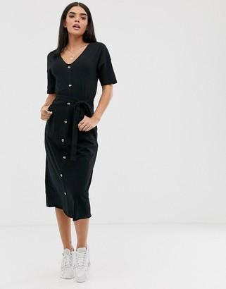Asos Design DESIGN v neck button through belted midi with pockets-Black