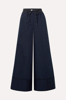 Sacai Shell-trimmed Poplin Wide-leg Pants - Midnight blue