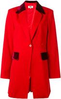 MM6 MAISON MARGIELA velvet details blazer - women - Polyester/Virgin Wool/Spandex/Elastane - 40
