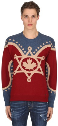 DSQUARED2 Maple Leaf Glittered Wool Knit Sweater