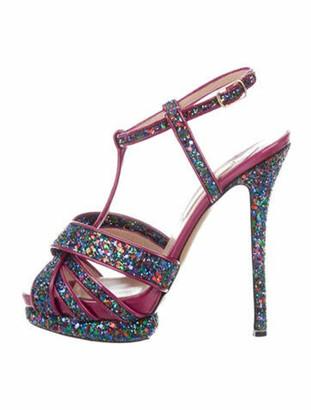 Nicholas Kirkwood Printed T-Strap Sandals Purple