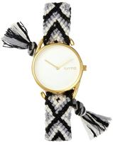 RumbaTime Jane Goldtone White Dial Interchangeable Black, White, and Gray Braided Strap Watch