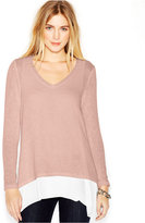 Bar III Knit-Overlay Layered Top, Only at Macy's