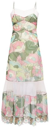 Fendi Tulle-panel Windflower-print Twill Dress - Pink Print